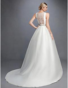 billiga A-linjeformade brudklänningar-Prinsessa Bateau Neck Hovsläp Spets / Satäng Bröllopsklänningar tillverkade med Bård / Spets / Bälte / band av LAN TING BRIDE® / Vacker i svart