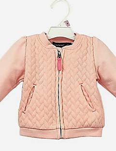 billige Babyoverdele-Baby Pige Bluse Daglig Ensfarvet, Bomuld Langærmet Sødt Afslappet Lyserød