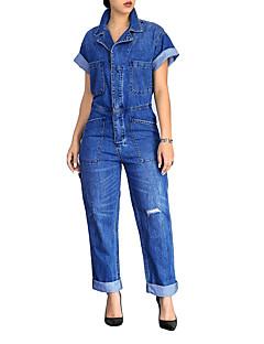 billige Jumpsuits og sparkebukser til damer-Dame Store størrelser Daglig Vintage Blå Sparkedrakter, Ensfarget Dusk Puffermer L XL XXL Bomull Kortermet Vår