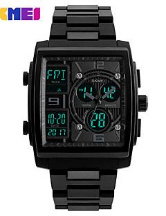 billige Digitalure-SKMEI Herre Digital Digital Watch Armbåndsur Kalender Kronograf Vandafvisende Stopur Tre Tidszoner PU Bånd Luksus Sej Sort