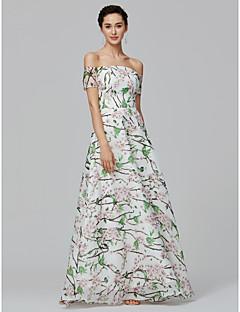 billige Mønstrede og ensfargede kjoler-A-linje Løse skuldre Gulvlang Organza Formell kveld / Ferie Kjole med Mønster / trykk av TS Couture® / Mønster / trykk