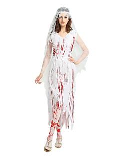billige Halloweenkostymer-Trollmann / heks / Ghostly Bride Drakter Unisex Halloween / Karneval / De dødes dag Festival / høytid Halloween-kostymer Hvit Ensfarget /