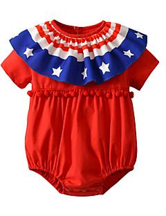 billige Babytøj-Baby Unisex Blå & Hvid Ensfarvet Halvlange ærmer Bodysuit