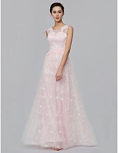 baratos Vestidos de Formatura-Linha A Ilusão Decote Longo Renda Baile de Formatura / Evento Formal Vestido com Apliques de TS Couture®