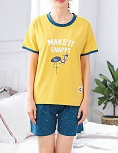 billige Moteundertøy-Dame U-hals Dress Pyjamas - Fargeblokk Bokstaver