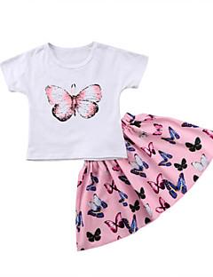 billige Tøjsæt til piger-Baby Pige Sommerfugl Ensfarvet / Trykt mønster Kortærmet Tøjsæt