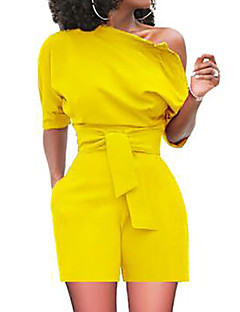 tanie Kombinezony damskie-Damskie Wyjściowe Podstawowy / Wyrafinowany styl Szczupła Jednoczęściowe - Solidne kolory Na jedno ramię Wysoka talia Spodnie szerokie nogawki / Lato