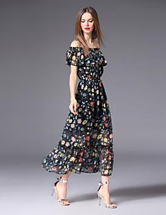 Χαμηλού Κόστους Γυναικεία Φορέματα-Γυναικεία Χαριτωμένο / Μπόχο Swing Φόρεμα - Φλοράλ, Στάμπα Μακρύ