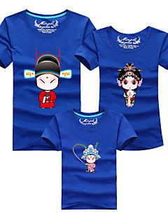 billige Sett med familieklær-3 deler Baby Familie Look Fargeblokk Kortermet T-skjorte