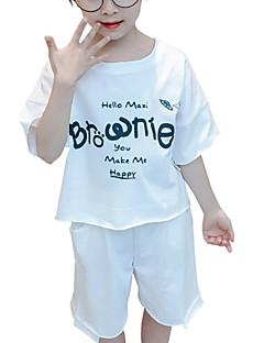 billige Tøjsæt til piger-Baby Pige Trykt mønster Halvlange ærmer Tøjsæt