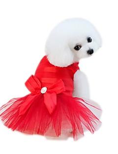 billiga Hundkläder-Husdjur Klänningar Hundkläder Enfärgad / Voiles & Skira / Blomma Fuchsia / Röd / Blå Bomull / Polyester / Nät Kostym För husdjur Blomstil