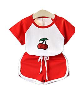 billige Tøjsæt til piger-Børn Baby Pige Aktiv Sport Kirsebær Ananas Trykt mønster Pailletter Kortærmet Bomuld Tøjsæt