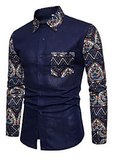 abordables Camisas de Hombre-Hombre Activo / Básico Tallas Grandes Algodón Camisa Delgado Geométrico / Manga Larga