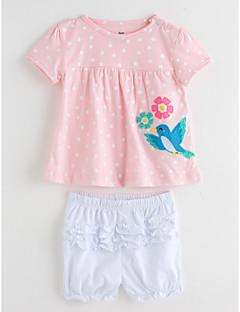 billige Tøjsæt til piger-Baby Pige Ensfarvet Prikker Kortærmet Tøjsæt
