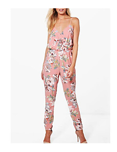 billige Jumpsuits og sparkebukser til damer-Dame Vintage / Grunnleggende Sparkedrakter - Blomstret