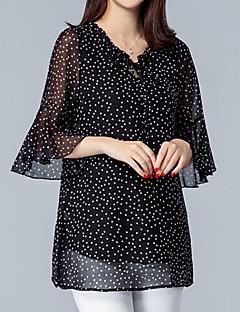 billige Bluse-kvinder går ud plus størrelse løs bluse - polka dot v hals