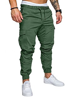 cheap Men's New Ins-Men's Basic Plus Size Sweatpants / Cargo Pants - Solid Colored Navy Blue / Spring / Fall