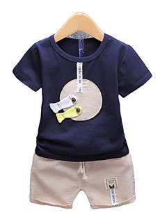 billige Tøjsæt til drenge-Børn Baby Drenge Geometrisk Farveblok Kortærmet Tøjsæt