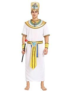 billige Halloweenkostymer-Egyptiske Kostymer Drakter Herre Halloween / Karneval / De dødes dag Festival / høytid Halloween-kostymer Hvit Ensfarget / Stripet /