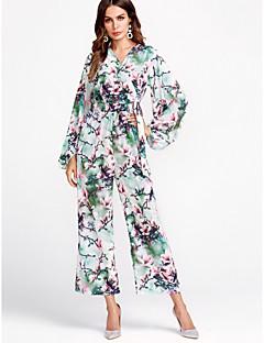 billige Jumpsuits og sparkebukser til damer-Dame Kjeledresser - Blomstret V-hals