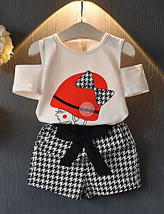 billige Tøjsæt til piger-Børn / Baby Pige Farveblok Kortærmet Tøjsæt