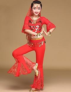 tanie Dziecięca odzież do tańca-Taniec brzucha Stroje Dla dziewczynek Wydajność Spandeks Moneta miedziana / Gore Rękaw 1/2 Dropped Top / Spodnie / Dodatek do talii
