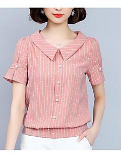 halpa -Naisten Avoin selkä Yhtenäinen Vintage T-paita, Sininen ja valkoinen