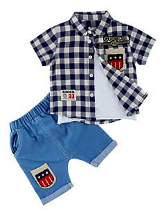 billige Tøjsæt til drenge-Baby Drenge Geometrisk Patchwork Kortærmet Tøjsæt