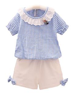 billige Tøjsæt til piger-Børn Baby Pige Ruder Kortærmet Tøjsæt