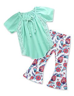 billige Tøjsæt til piger-Baby Pige Ensfarvet / Trykt mønster Kortærmet Tøjsæt