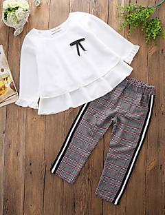 billige Tøjsæt til piger-Baby Pige Ensfarvet Trykt mønster Ternet Langærmet Tøjsæt