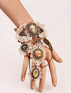 billiga Lolitaaccessoarer-Gotiskt Steampunk Vit Vintage Spets Armband / Fotledsband Spets Kostymer