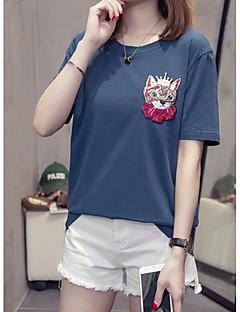 billige T-shirt-Kvinders plusstørrelse bomuldst-shirt - solidfarvet / dyrt rundt hals