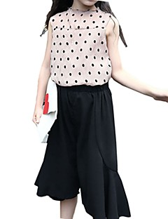 billige Tøjsæt til piger-Børn Pige Prikker Houndstooth mønster Uden ærmer Tøjsæt