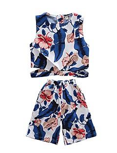 billige Tøjsæt til piger-Børn Pige Tropisk blad Trykt mønster Uden ærmer Tøjsæt