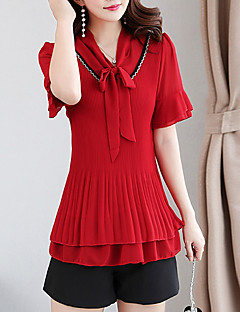 cheap Women's Fashion & Clothing-Women's Blouse - Solid Colored V Neck