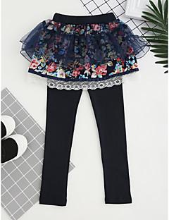 billige Bukser og leggings til piger-Pige Bukser Broderi, Bomuld Efterår Alle årstider Pænt tøj Blonde Lyserød Navyblå