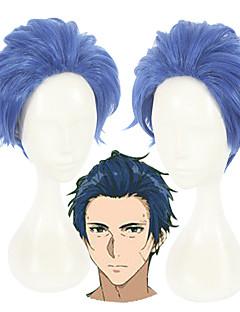 baratos Cosplay Anime-Perucas de Cosplay Violet Evergarden Merlin Azul Anime Perucas de Cosplay 12 polegada Fibra Resistente ao Calor Unisexo Perucas para o Dia das Bruxas