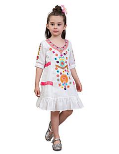 billige Pigekjoler-Børn Baby Pige Stribet Trykt mønster Farveblok Halvlange ærmer Kjole
