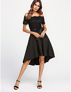 cheap Women's Fashion & Clothing-Women's Cotton Sheath Dress - Solid Color Lace Off Shoulder