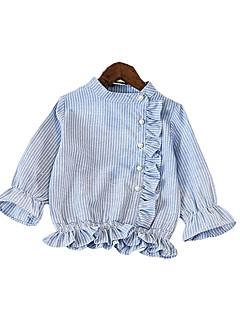 cheap Girls' Tops-Toddler Girls' Blue & White Striped Long Sleeve Shirt