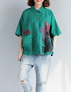 billige T-shirt-Krave Løstsiddende Dame - Blomstret Bomuld T-shirt