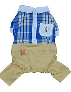 billiga Hundkläder-Hund / Katt / Husdjur Jumpsuits Hundkläder Pläd / Rutig / Vintage / Brittisk Röd / Blå Bomull / Polyester Kostym För husdjur Herr
