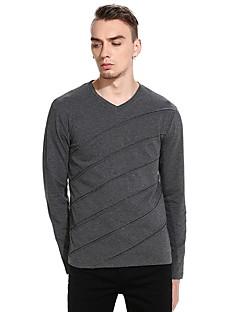 billige Herre Mode Beklædning-V-hals Tynd Herre - Stribet Bomuld T-shirt
