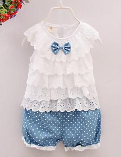 billige Babytøj-Baby Pige Trykt mønster Uden ærmer Tøjsæt
