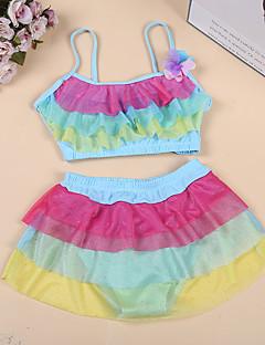 billige Badetøj til piger-Børn Pige Regnbue / Patchwork Uden ærmer Badetøj