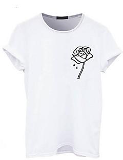 billige T-shirt-Dame - Blomstret Trykt mønster Basale T-shirt