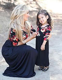 billige Sett med familieklær-Mamma og meg Blomstret Kortermet Kjole