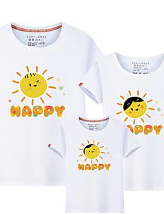 billige Sett med familieklær-Barn Familie Look Ensfarget / Bokstaver Kortermet T-skjorte
