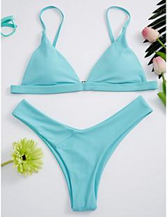 billige Strandferie-Dame Grime Rød Lyserød Lilla Trekant G-streng Bikini Badetøj - Ensfarvet Åben ryg S M L / Sexy